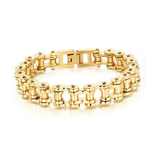 New Jewelry Metal Stainless Steel Biker Men's Motorcycle Chain Punk Rock Male Bracelet 8.46 Inch,Color Gold/Silver Gift