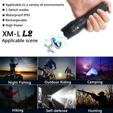 LED tactical flashlight torch 8000 Lumens CREE XM-L2 Zoomable self defense portable lantern 5 mode adjustable camping light lamp