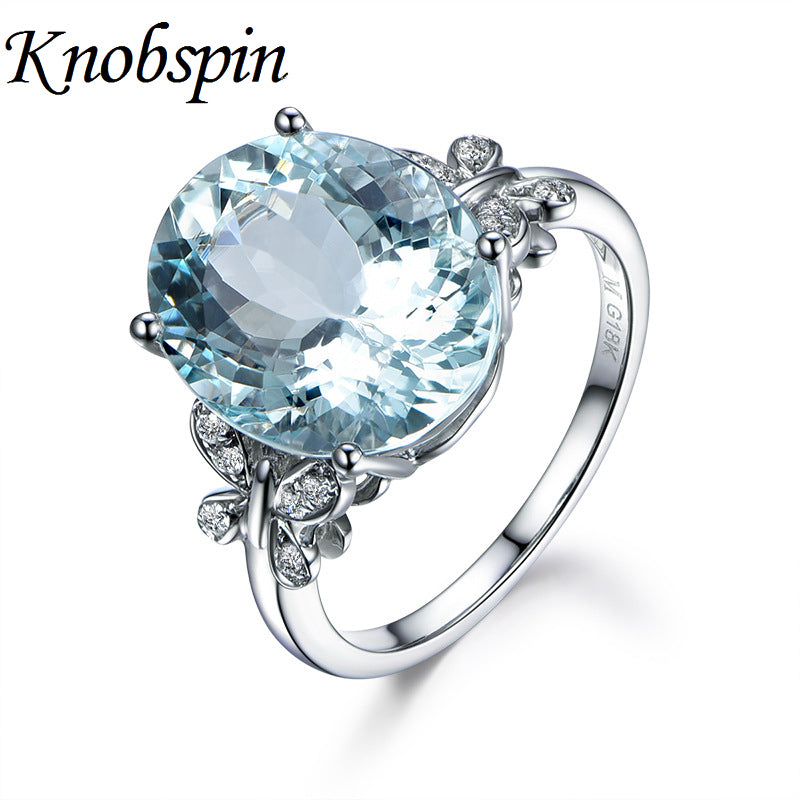 Charm Blue Stone Rings Jewelry For Women Butterfly Clear Crystal Accessory Rings For Wedding Party Gift bague femme