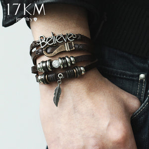 17KM 5 kinds Design Vintage Multiple Layer Leather Charms Bracelets For Men Women Bracelet Bangles Retro Party Jewelry Wholesale