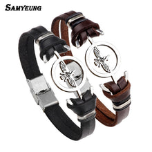 Punk Jewelry Anchor Leather Braceles for Men Friendship Eagle Bracelet Stainless Steel Women Braslet Homme Online Shopping India