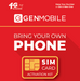 Unlimited International Talk & Text Plan - Gen Mobile SIM Card - Wireless Service, $15/mo