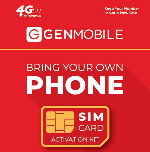 300mins Talk & Unlimited Text + 1GB Plan - Gen Mobile SIM Card - Wireless Service, $10/mo