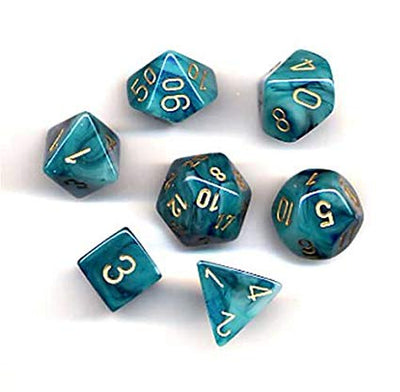 Dice set 4 20 Phantom Teal Gold