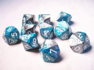 Dice set 4 20 Steel Teal White