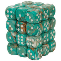 Dice set D6 Marble Oxi-Copper White 36
