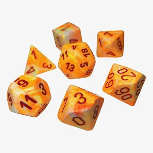 Dice set 4 20 Festive Sunburst Red