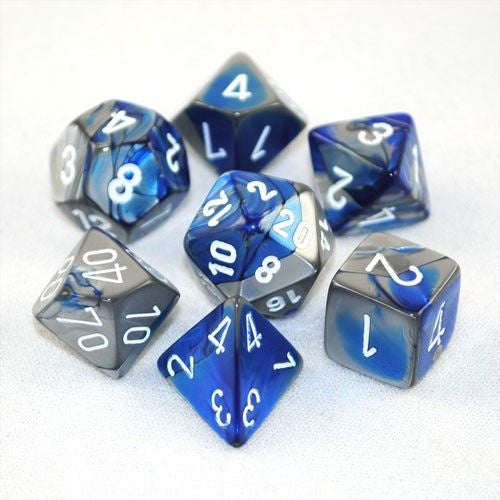 RPG Dice set Gemini Blue Steel with white