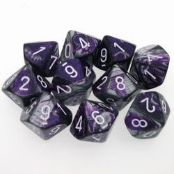 Set of D10 Gemini Purple Steel with White