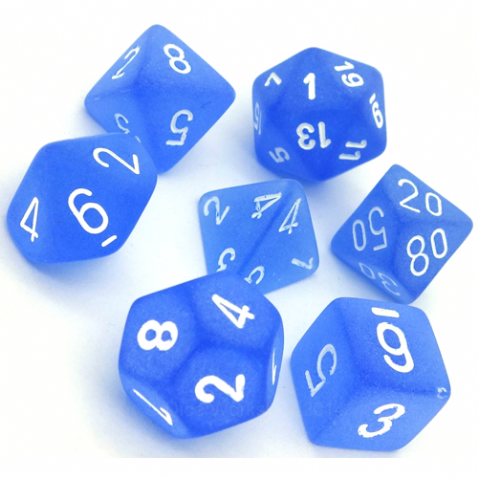 RPG Dice set Frosted Blue with white