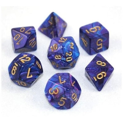 Dice set 4 20 Lustrous Purple Gold