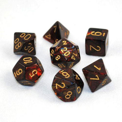 Dice set 4 20 Scarab Blue Blood gold