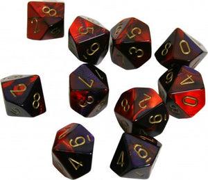 RPG Dice set Gemini Purple Red with gold
