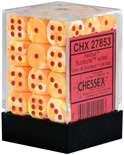 Dice set D6 Festive Sunburst 36