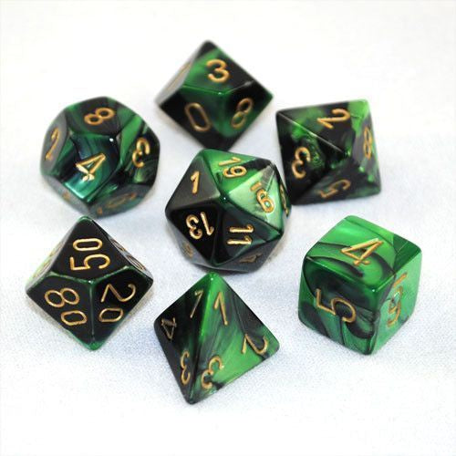 RPG Dice set Gemini Black Green with gold