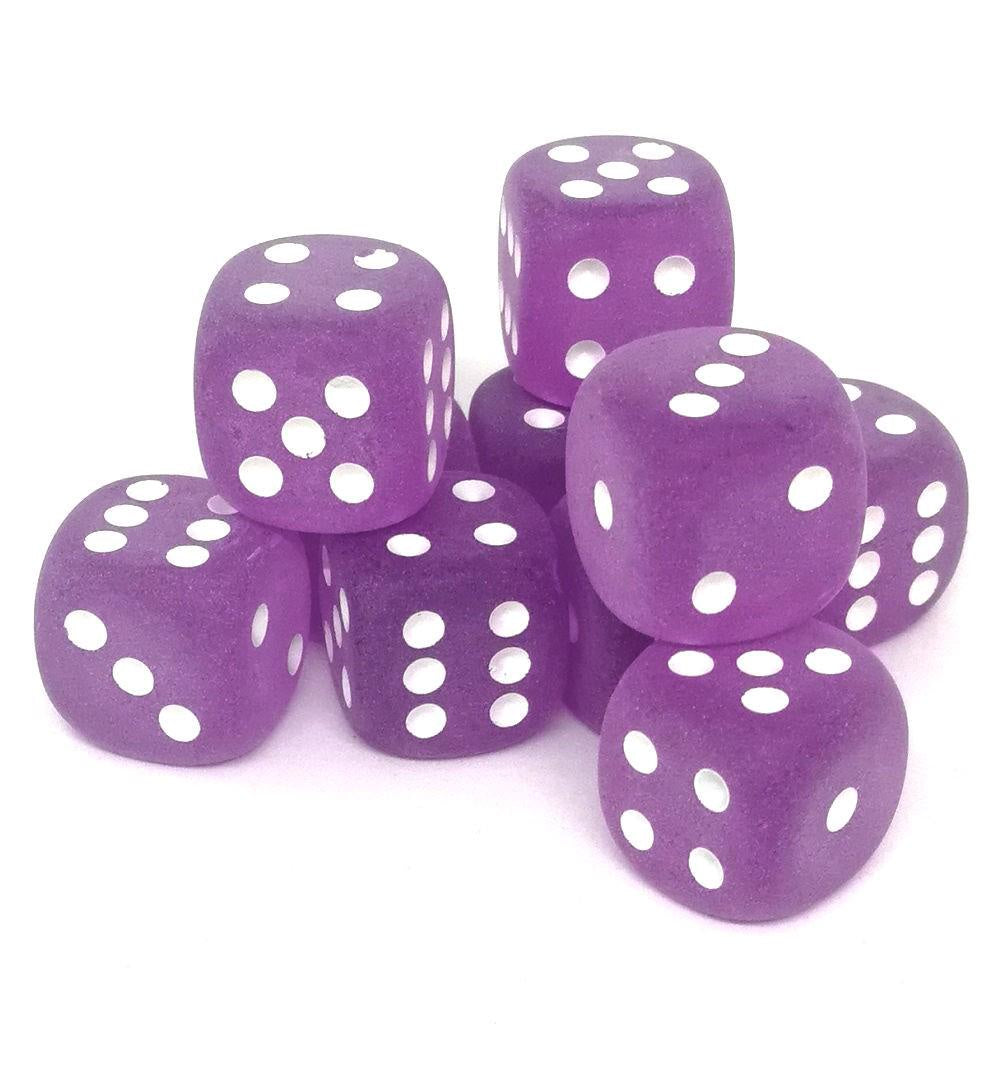 Dice set D6 Frosted Purple White 12