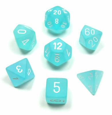 Dice set 4 20 Frosted Teal White