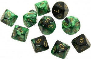 Set of D10 Gemini Black Green with Gold