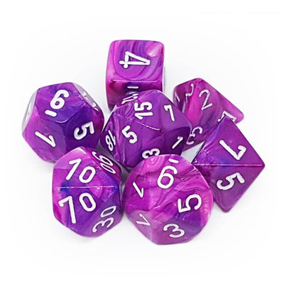 Dice set 4 20 Festive Violet White