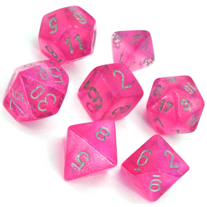 RPG Dice set Borealis Pink with silver