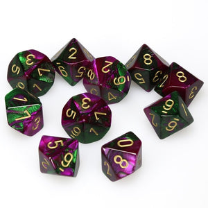 RPG Dice set Gemini Green Purple with gold