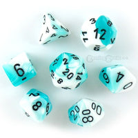 RPG Dice set Gemini Teal White with black