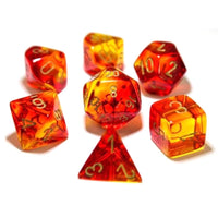 RPG dice set Gemini Translucent Red Yellow with Gold
