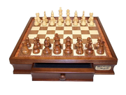 Chess Board Walnut Drawers 16 inch