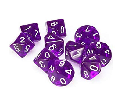 Dice Set 4 20 Translucent Purple White