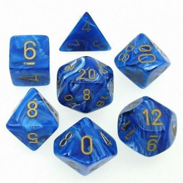 RPG Dice set Vortex Blue with gold