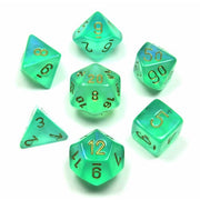 Dice Set 4 20 Borealis Light Green Gold