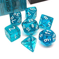 RPG Dice Set Translucent Teal with white