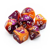 RPG Dice set Gemini Orange Purple with white