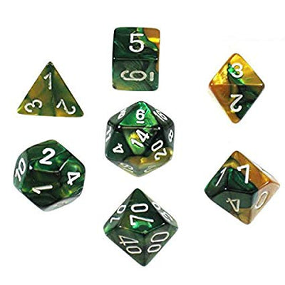 Dice set 4 20 Gemini Gold Green white
