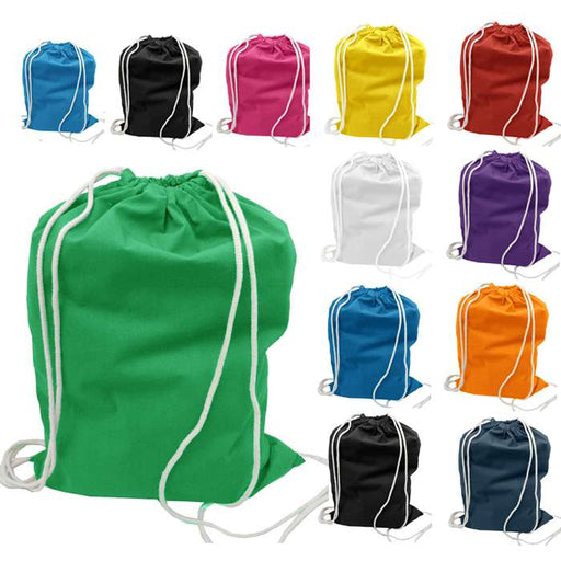 100% Cotton Economical Sport Drawstring Pouch Bag