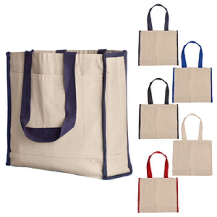 Canvas Tote bag W/Side Stripes