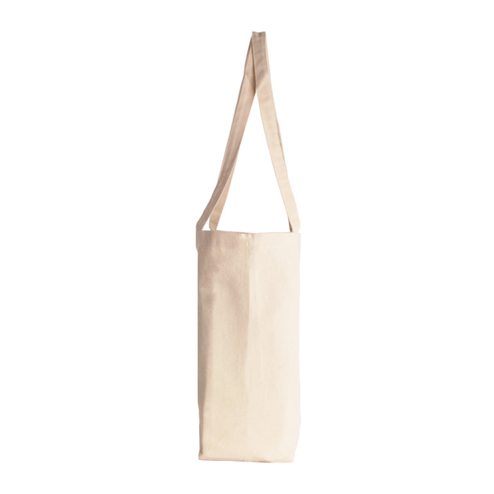 Long Handle Cotton Canvas Tote Bag Natural