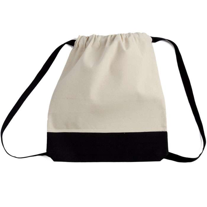 Canvas Two-Tone Drawstring Sport Bag/Backpack