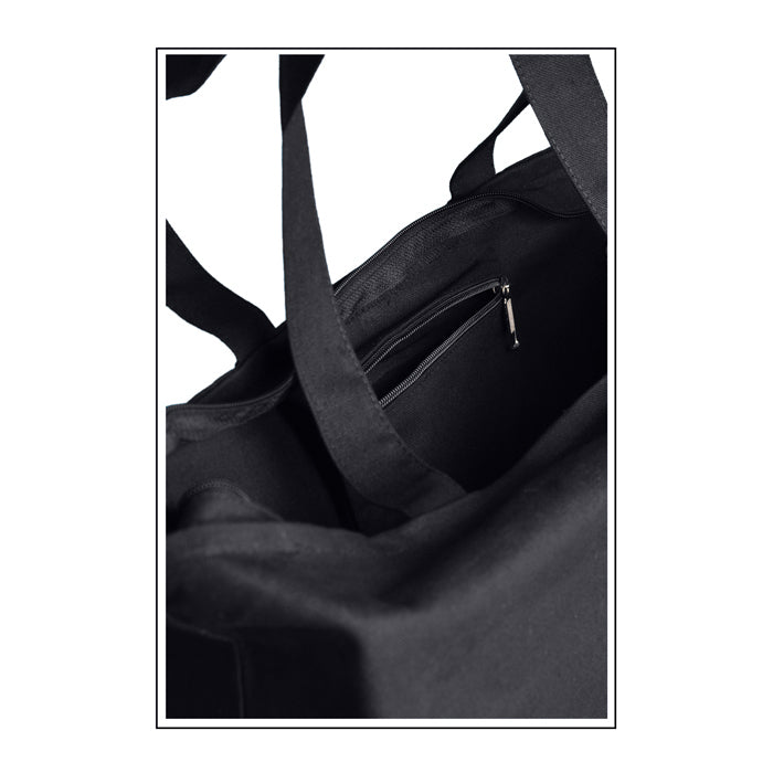 Zippered Closure Canvas Tote Bag