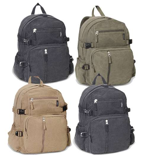 dc6832a5b Canvas College Backpack, Multiple Pocket Wholesale Backpack