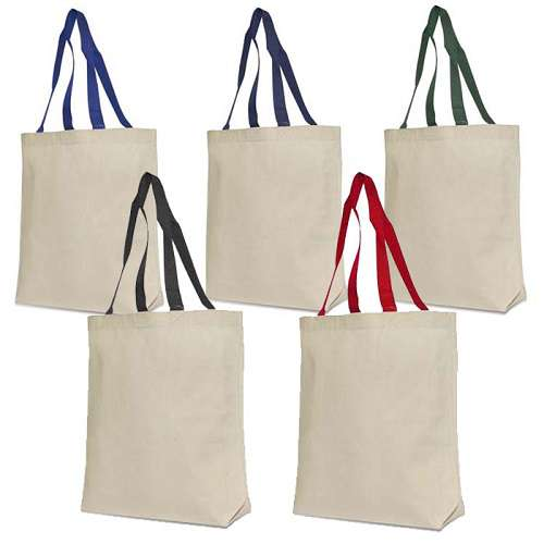Recycled Exclusive Contrast Color Handles Cotton Canvas Tote Bag