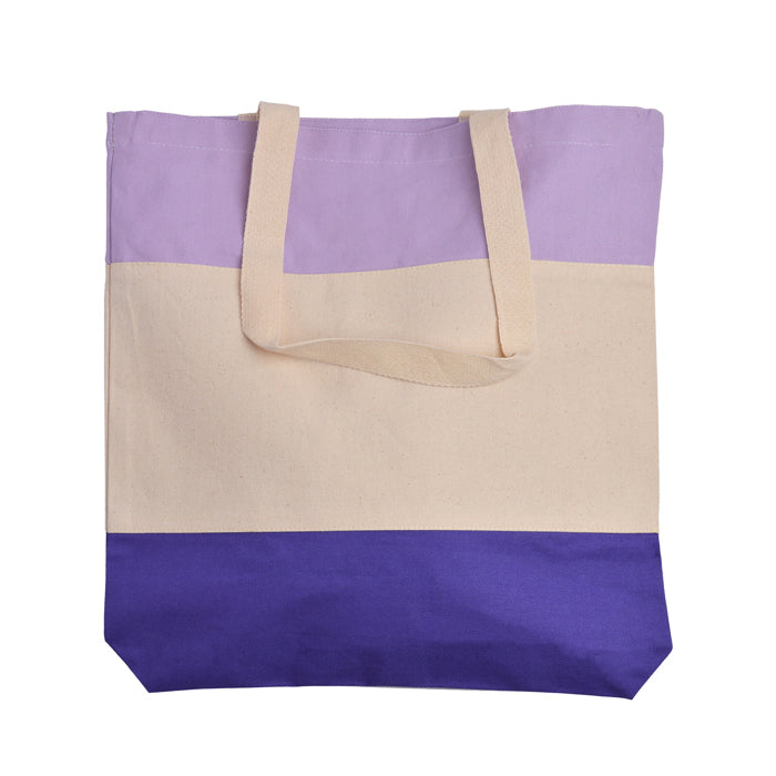 Tri-Color Canvas Tote Bag for Women