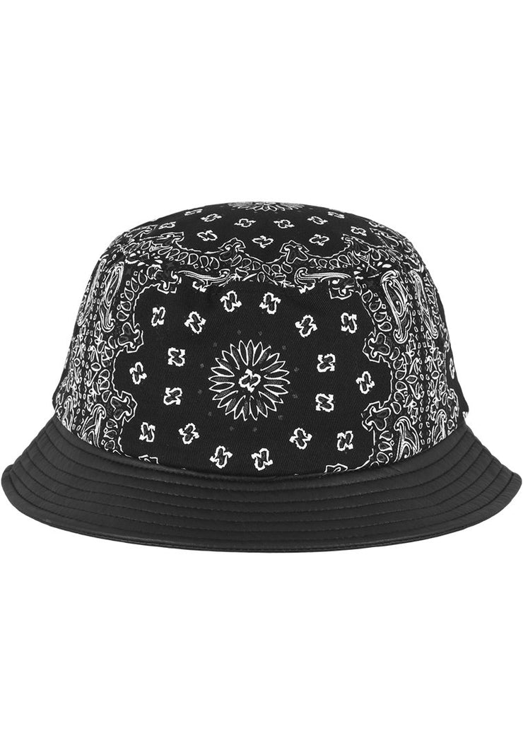 Urban Classics Bandana Leather Imitation Brim Bucket Hat-Urban Classics-hutwelt