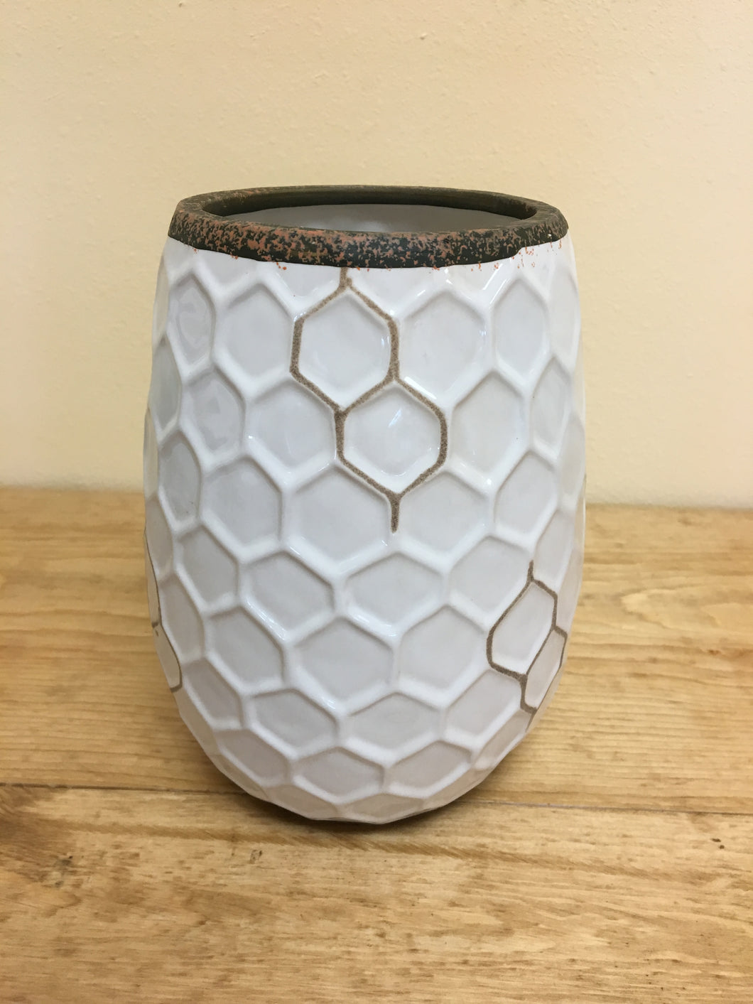 Large White Honeycomb Vase