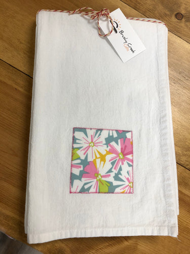 Set Pink Floral Embellished Flour Sack Towels