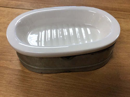 Soap Dish - Ceramic & Metal