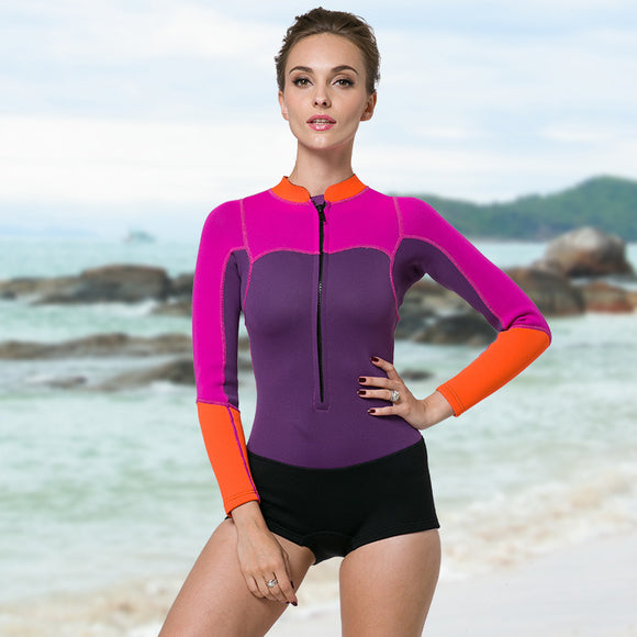 SBART 2MM Neoprene Women Diving Suits One Pieces Snorkeling Wetsuits Swimming Surfing Sailing Rash Guards Long Sleeves DBO