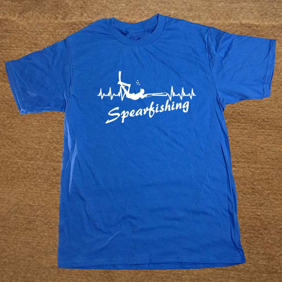 Its In My HeartBeat Spearfishing T Shirt Scuba Diver Fishinger T-Shirt Brand Cotton Men Clothing Male Loose T Shirt