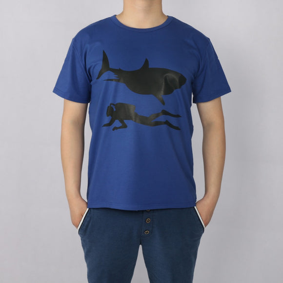 NJA SHARK DIVERS  short sleeve T-shirt Top Lycra Cotton Men T shirt New DIY Style