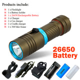 Diving flashlight cree xml t6 1 mode lamp IPX8 Scuba lantern flashlight led Underwater torch 18650 or 26650 rechargeable battery